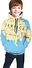 Teen Hooded Sweatshirts,Map of Jamaica Kingston Caribbean Sea Important Locations in Country