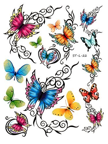 Supperb Temporary Tattoos - Elegant Colorful Butterflies Tattoo L