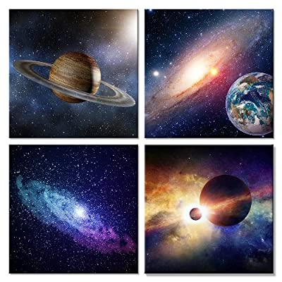 Wieco Art Giclee Canvas Prints Wall Art Space Pictures for Bedroom Home Decorations Universal Magic Power Modern 4 Panels Contemporary Star Sky Pictures Astronomy Artwork by Wieco Art
