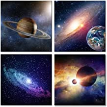 Wieco Art Giclee Canvas Prints Wall Art Space Pictures for Bedroom Home Decorations Universal Magic Power Modern 4 Panels Contemporary Star Sky Pictures Astronomy Artwork