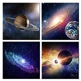 Wieco Art Giclée-Kunstdruck auf Leinwand Art Wand Gemälde für Schlafzimmer Home Dekorationen Universal Magic Power 4Stück gespannt und gerahmt Modern Star Sky Bilder Astronomie Landschaft Kunstwerke