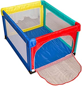 WJSW Adorable Safety Play Center Yard Portable Playard Play Pen for Infants and Babies Lightweight Mesh Baby Playpen with Zipper Door for Breathable Mesh Size 47 24 37 4 27 56