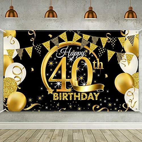 Decoraciones de Póster de 40 Cumpleaños Banner de Cumpleaños de Oro Negro Fondo de Tela Decoraciones para Fiesta de Cumpleaños Suministros para Hombres y Mujeres