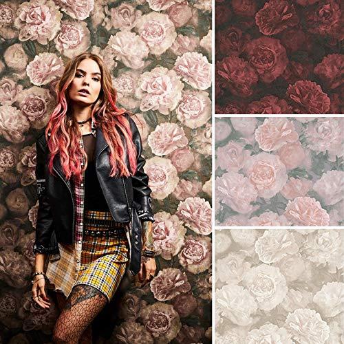 Romantische VINTAGE Blumen Tapete Neue Bude Vliestapete Vinyl Vlies Wohnzimmer Fototapete Made in Germany (10.05 m x 0.53 m, Rosen rosa, grau, weiß)