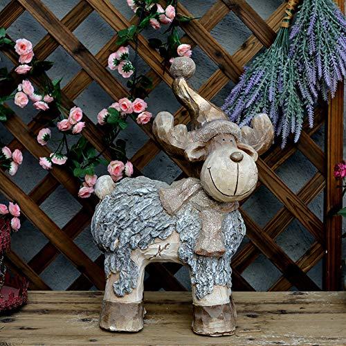 Figura Decorativa para jardín Muñeco De Nieve De Navidad Elk Magnesio óxido Impermeable Estatua Del Jardín Para La Yarda Del Césped Del Paisaje Decoración Hace El Regalo B:33 * 14 * 48cm