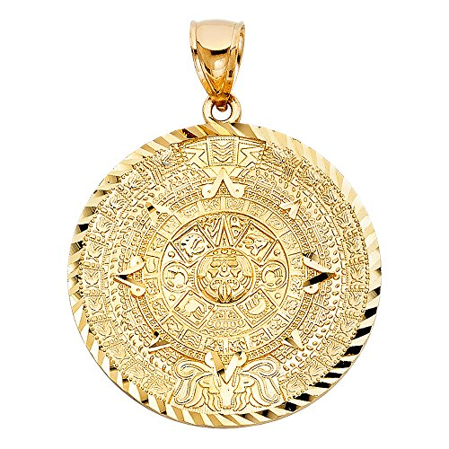 Top Gold & Diamond Jewelry tgdj 14K Amarillo Oro Calendario Azteca Colgante (Altura 40mm, Ancho: 40mm)