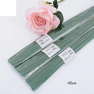 Rmeet Alambre de Tallo,Floral Wire 100 Pack Verde Floristas Alambres de Calibre para Flores Artificiales Boda Decoraciones Artesanía 40CM 22#