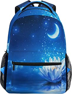 Women/Man Canvas Backpack Special Blue Moon Water Lily Or Lotus Zipper College School Bookbag Daypack Travel Rucksack Gym Bag For Youth