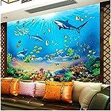 Fveng 3D Door sticker Fondo de Pantalla HD Mundo Submarino Tiburón Peces Tropicales Mural Acuario Moderno Sala de Estar TV Niños Dormitorio Telón de fondo-250cmx175cm