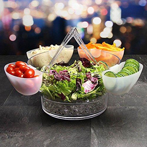 dine@drinkstuff On Ice Salad Server - Acrylic Salad Bowl with 4 Side Server Dishes and Salad Servers - Salad Bowl