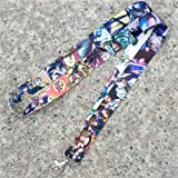 DEOLBA Jojos Bizzare Adventure Keychain Lanyard Office Neck Strap ID Badge Protector Case Work Pass Gym Mobile USB Holder Hang Rope