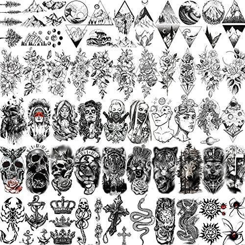 Shegazzi 52 Blätter Schwarz Schädel Temporäre Tattoos Männer Frauen Arm Hals, Realistisch Klein Rose Blume Fake Tattoos Erwachsene, 3D Wasserfest Löwe Tiger Tatoos Zum Aufkleben Auf Die Haut Kinder