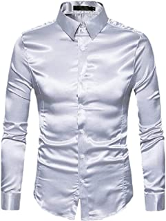 Keaac Men Regular Fit Shiny Satin Silk Like Dance Prom Dress Shirt Top Light Grey XXS
