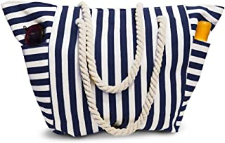 Beach Bag Canvas Tote With Waterproof Inside Lining - Outside Pockets for Bottles from Moskus Gear - Striped Pool Tote & Bonus item