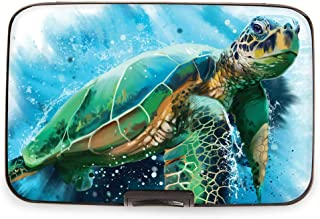 Fig Design Group Armored Wallet RFID Secure Data Theft Protection Credit Card Case (Sea Turtle)