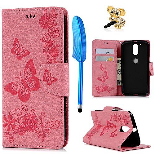 YOKIRIN Lenovo Moto G4 Plus Hülle Case Großer Schmetterling Wallet Tasche Hülle PU Leder Flipcase Handyhülle Schutzhülle Handytasche Handyschale Standfunktion Kartenfächer Magnetverschluss Rosa