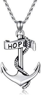 """PDTJMTG Anchor Necklace 925 Sterling Silver Navy Pendant Rope Anchor Jewelry Inspirational Giftsfor Men Women 20""""+2"""""""