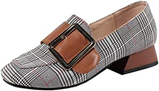 Melady Fashion Plaid Pumps Women Low Heels