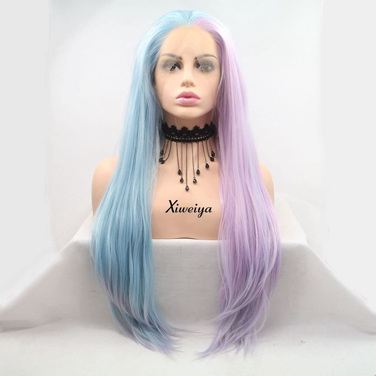 Natural Straight Mermaid Piano Color Pink To Blue Two Tone Synthetic Lace Front Wig For Women Heat Resistant Replacement Wigs (blue ombre purple)