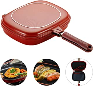 Double-sided Portable BBQ Grill Pan Multifunction Non-Stick Barbecue Double Sided Pan Portable Durable Square Pan for Grilling Frying with Anti Scald Magnetic Handle Red Large