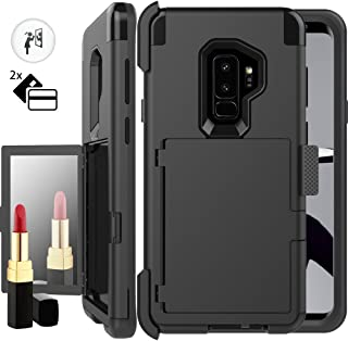 Galaxy S9 Wallet Case,S9 Holster Case,Auker Shockproof Card Holder Design Mirror Wallet Case Heavy Duty Military Grade Armor High Impact Full Body Drop Protection Cover for Samsung Galaxy S9 (Black)