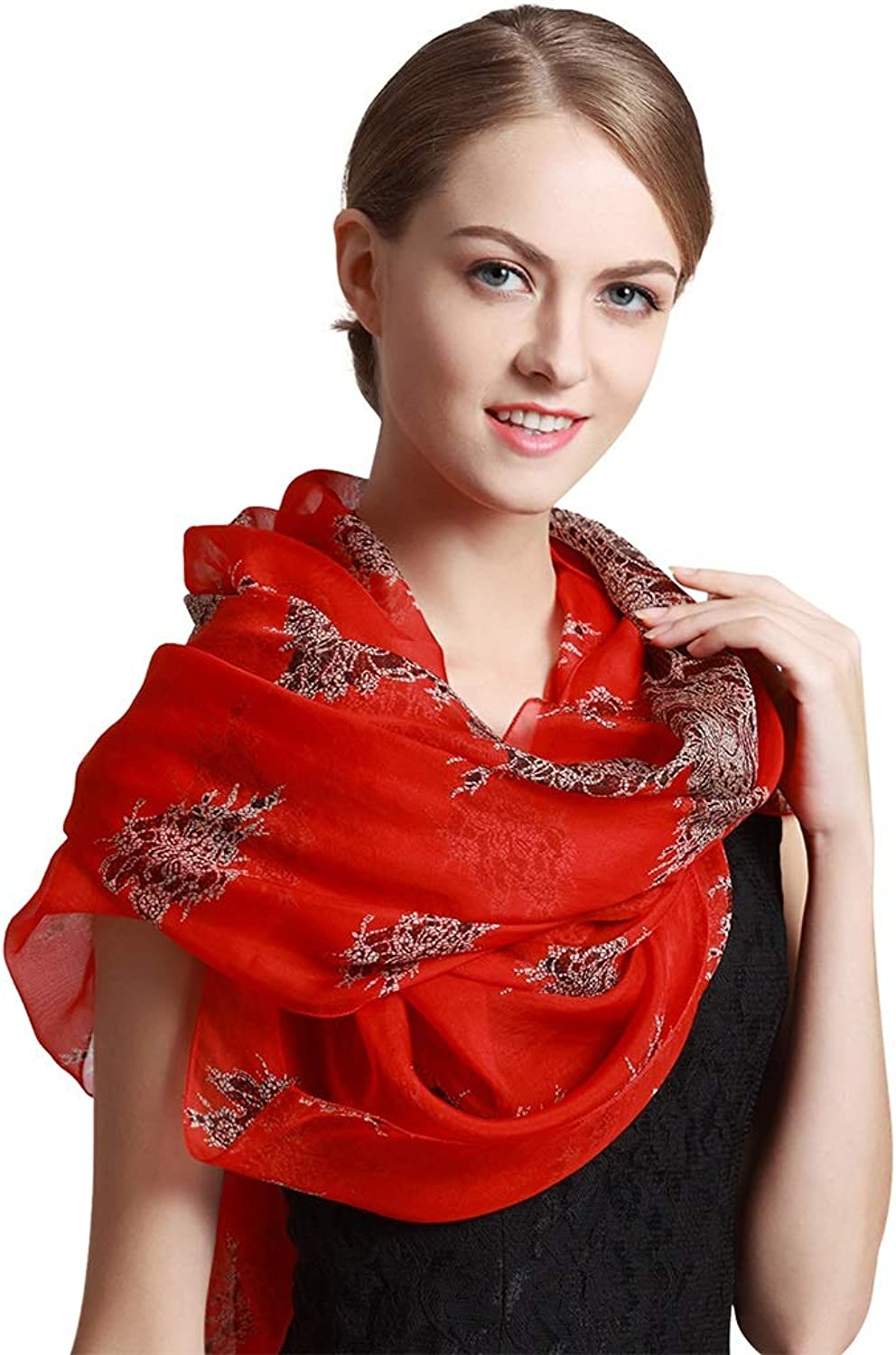 Wraps Scarf Silk Shawl Embroidery Beading Scarfs Females Gift Thin Scarf Sapphire bluee Cape Gift Box Packaging (78  53 Inches) Scarves (color   Red)