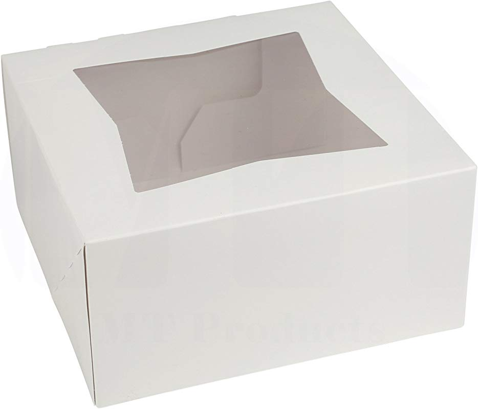 6 Length X 6 Width X 3 Height White Paperboard Auto Popup Window Small Pie Bakery Box By MT Products 25 Pieces