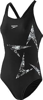 Speedo Women's Boomstar Placement Racerback Swimsuit, Black/White, 40 (UK 18)
