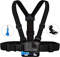 MiPremium Chest Mount Harness Compatible with GoPro Hero 7 6 5 4 3 3+ 2 1 Fusion Session Black Silver & AKASO EK7000 Sjcam Sports Cameras Adjustable Body Strap + Jhook & Aluminum Thumbscrew Accessory