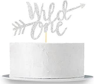 Silver Glitter Wild One Cake Topper - Baby's First Birthday Party Decorations - 1st Birthday Cake Topper - Baby Shower Photo Props