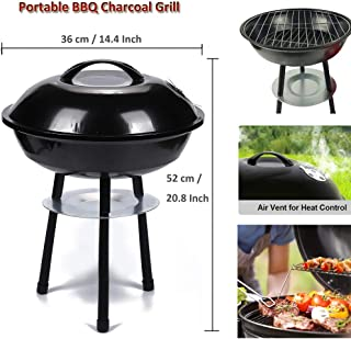 WSTECHCO 14 Inch BBQ Grill Charcoal Portable Barbecue Grilling Lightweight for Picnics, Backyard, Party, Camp, Lake Outdoor Cooking