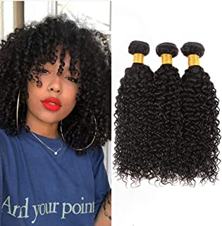 Huarisi Peruvian Kinky Curly Hair 3 bundles 10 12 14 inch 10a Human Hair Weave Kinkys Curly Virgin Hair Extensions Natural Black Color Sew in Weft for Full Head