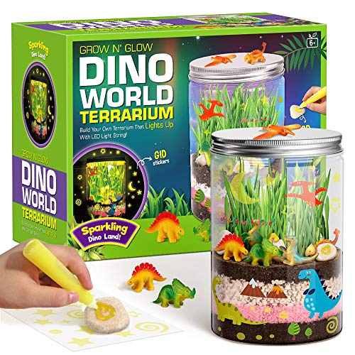XXTOYS Light-up Dino World Terrarium Kit for Kids with LED Light on Lid - Dinosaur Toys - Create Your Own Customized Mini Dinosaur Garden in a Jar That Glows at Night - Science Kits - Gardening Gifts