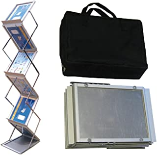 Tektrum Portable Foldable Metal Literature Rack Display Holder Stand w/Carry Bag, Pop-up Magazine Brochure Catelog Rack, Light Weight, for Trade Show Booth Office Retail Store Showroom (6 Pockets)