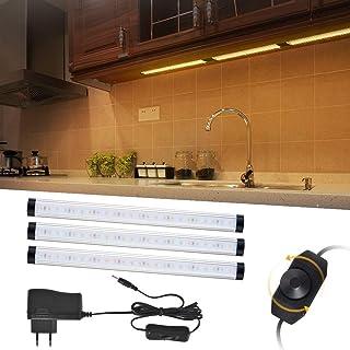 LED bajo el gabinete de iluminación, 3pcs 12W 920LM Dimmable 72LED lámpara de luz caliente blanco para la cocina, armario, contadores [Clase de eficiencia energética A+]