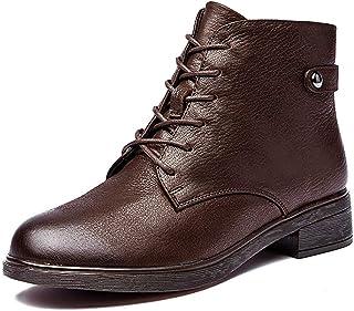 [GoldFlame-JP] ショートブーツ ローヒール レディース 本革 ボア付き あったか 裏起毛 柔らかい サイドジップ レースアップ マーティンブーツ 綿靴 冬靴 ウィンターブーツ ブラック黒 ブラウン