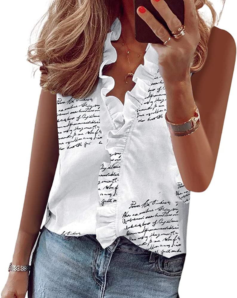 Max 86% OFF HUPAI Women's Short Sleeve Shirts Sleeveless Ruffled V-Neck T-Sh Albuquerque Mall
