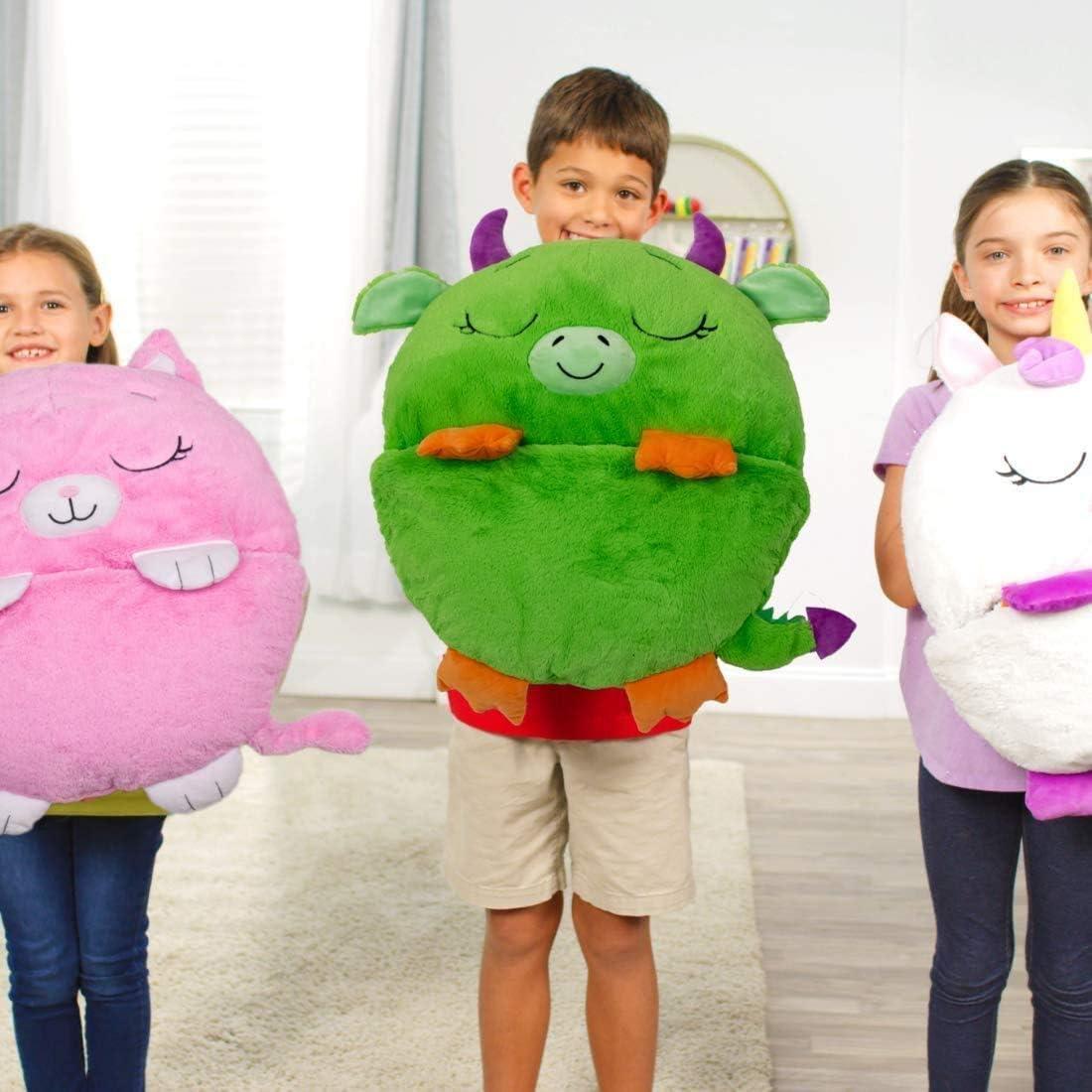 Happy Nappers Plus Velvet chaud enfants Licorne Animal Cartoon Sac de couchage 2 en 1 Coussin convertible en sac de couchage Chiot argenté.