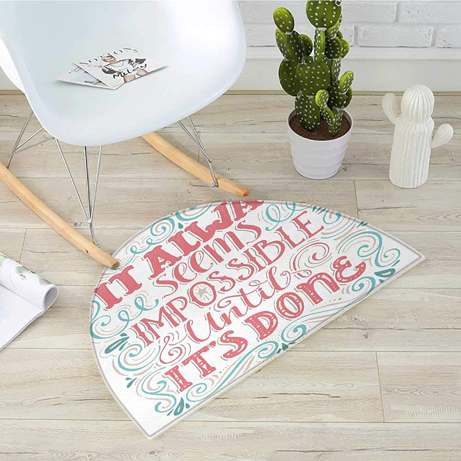 Quote Semicircle Doormat Hand Drawn Swirls and Curls It Seems Impossible Until Its Done Halfmoon doormats H 31.5  xD 47.2  Tan Dark Coral and Pale bluee