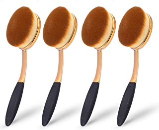 Large Rose Gold Foundation contour Round Toothbrush Oval Makeup Brushes 4pcs