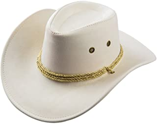 c9b1618cc65 UwantC Mens Faux Felt Western Cowboy Hat Fedora Outdoor Wide Brim Hat with  Strap
