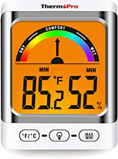 ThermoPro TP52 Digital Hygrometer Indoor Thermometer Temperature and Humidity Gauge Monitor Indicator Room Thermometer with Backlight LCD Display Humidity Meter
