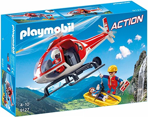 PLAYMOBIL- Bergretter-Helikopter Helicóptero de Rescate de Montaña, Multicolor, única (9127)