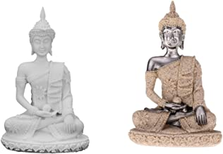 F Fityle 2X Sandstone Figure of Buddha Statue Seated Meditation Deity Luck Feng Shui Ornaments Collections Decoration Crafts