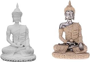 Baoblaze 2X Handcarved Sandstone Sitting Meditation Buddha Sculpture Collectable Statue Figurine Home Decoration Crafts