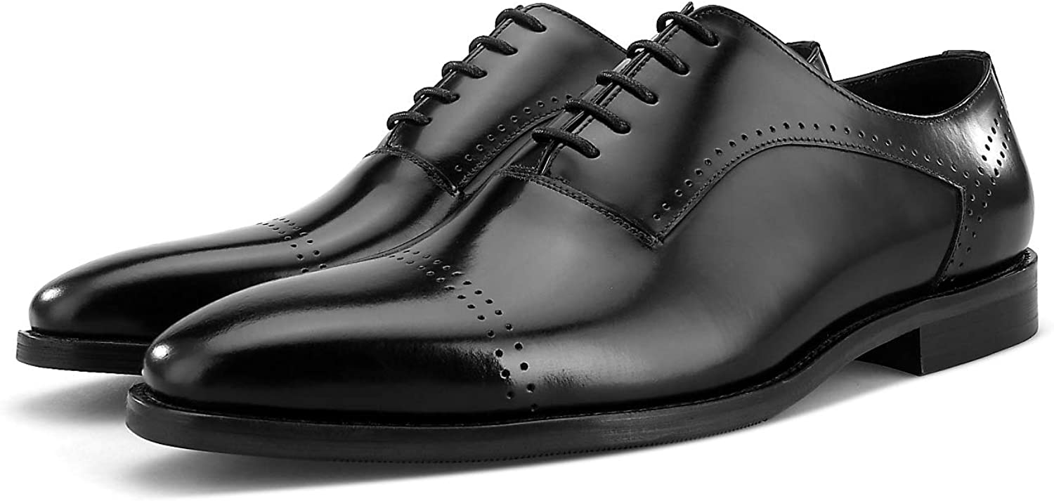 BONGZUO Oxford shoes, English shoes Dress Business Square Head shoes Brock Men Carved shoes, YMC175-534