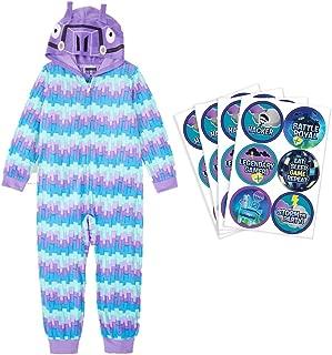 AME Boys Loot Llama One-Piece, Hooded Blanket Sleeper Pajamas Bundled with Battle Royal Stickers