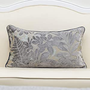 Alerfa 12 x 20 Inch Gray Silver Rectangle Maple Leaf Pillow Embroidery Cut Velvet Cushion Case Luxury Modern Lumbar Throw Pillow Cover Decorative Pillow for Couch Sofa Living Room Bedroom Car