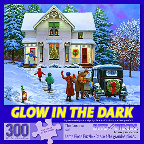Bits and Pieces - 300 Piece Jigsaw Puzzle for Adults 18' x 24' - The Greatest Gift - 300 pc Glow-in-The-Dark Christmas Snow House Holiday Winter Family Jigsaw by Artist John Sloane