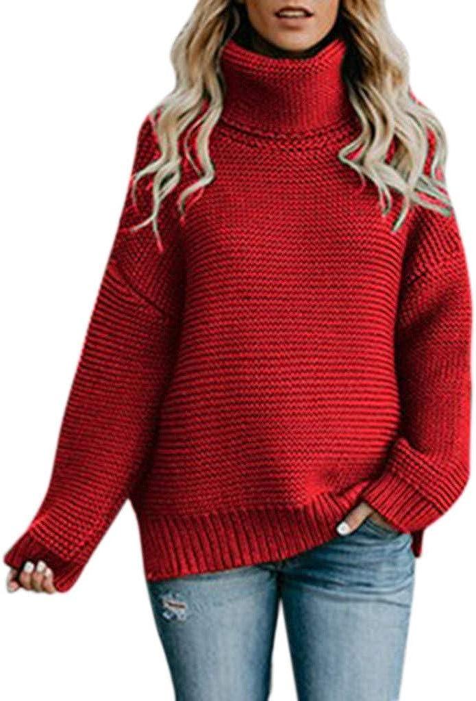 JABROOT Women Soild Turtleneck Knitted Sweater Tops Vests,Sexy Batwing Long Sleeve Sweatshirts,Fall Oversized Chunky Shrugs